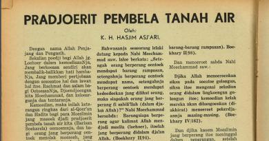 'Prajurit Pembela Tanah Air', Tulisan Mbah Hasyim Tahun 1943